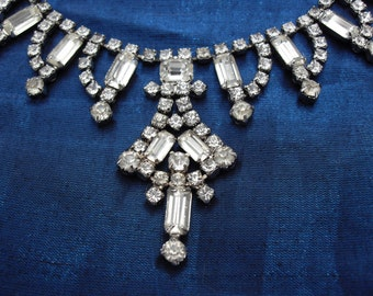 Signed AS IS Continental Rhinestone Necklace Art Deco Shape