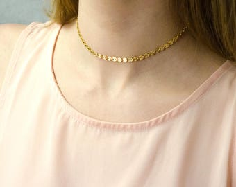 Coin choker Necklace, Dainty Gold Chain Choker Necklace, Disk Chain Choker, Gold Choker, bohemian Choker, tattoo Choker, Delicate Choker