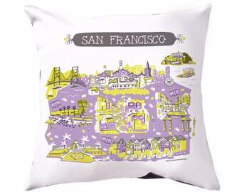San Francisco Pillow Cover-Home Decor-Dorm Room Decor-Lavender-Grey-Yellow-16 x 16
