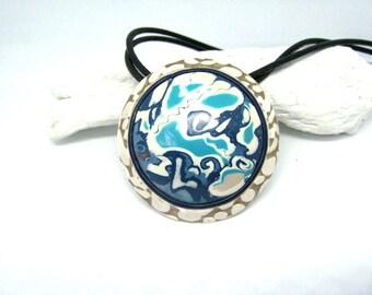 Blue Statement Necklace, Blue Circle Pendant, Artisan jewelry gift, Art Jewelry, Blue Art pendant, Jewelry gift, Blue Boho necklace gift