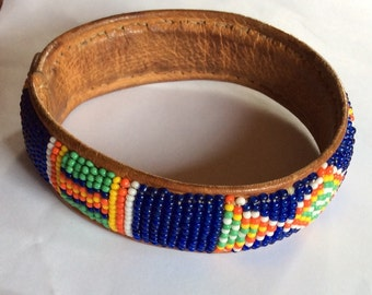 VINTAGE BEADED BRACELET, leather, Native American, hand made, gorgeous color