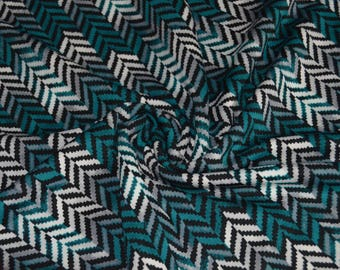 "0.47 yards Teal Black & White Stretch Scuba Knit Fabric 60"" Wide"