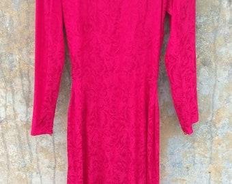 Vintage Argenti Red Silk Floral Dress Size 6