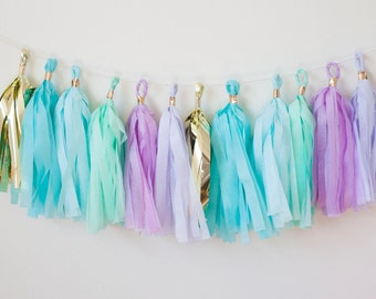 Mermaid Tassel Garland, Mermaid Birthday Party, Mermaid Theme Decor, Mermaid Nursery, Mermaid Room Decor, Mermaid Garland, Mermaid Banner