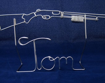 Wire Personalized Name With shotgun on Rack