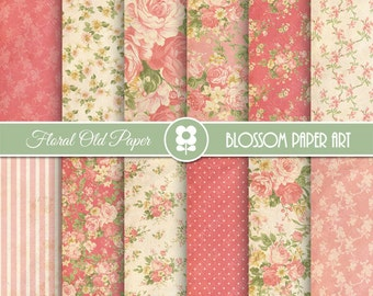Floral Digital Paper, Coral Digital Paper Pack, Vintage Scrapbook Paper, Roses Scrapbook Paper Pack  - INSTANT DOWNLOAD  - 1967