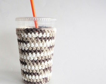 iced coffee cozy. Crochet coffee cozy. Brown cup cozy. Cotton cup sleeve. Eco friendly cup jacket. Summer drink cozy. Brown Ombre Cup Sleeve