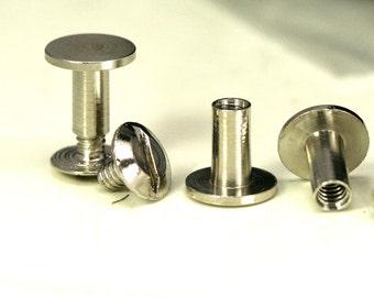 "Chicago screw / concho screw, 9 x 11 mm nickel plated brass studs, screw rivets, 1/8"" bolt CSC10 044"