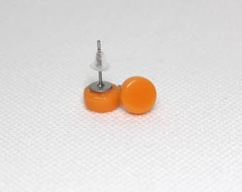 Orange Glass Stud Earrings - Orange Glass Surgical Steel Stud Earrings - Gift for her - Gift for Mum - UK Seller - Free UK Postage