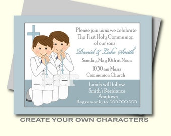 Twins First Communion Invitations- Two boys 1st Communion Invites- First Holy Communion Invitation- First Communion Tags- Thank You Cards