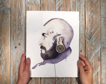 Original watercolour portrait - Tattooed guy - 29,7x21cm
