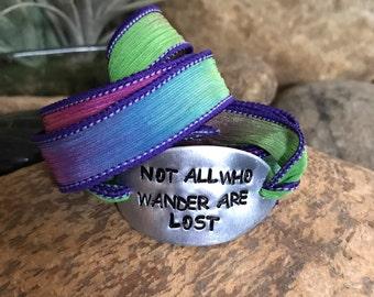 Not all who wander are lost silk wrap bracelet, traveler jewelry, wanderlust, mantra bracelet, customized, quote jewelry, nautical jewelry