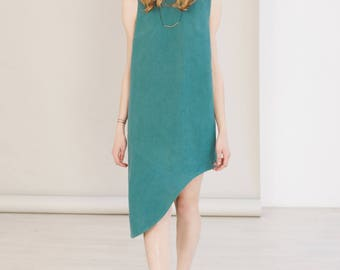 Maxi summer dress for women - Green asymmetrical dress - sustainable clothing
