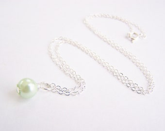 Light Green Glass Pearl Necklace - Matching earrings and bracelet available - other colors available - sets - weddings - FREE shipping wai
