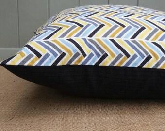 Blue yellow grey herringbone chevron & charcoal suiting pinstripe. zipped. Throw pillow cover, cushion cover