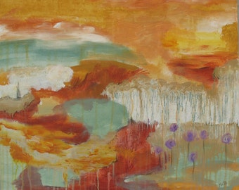 Waterfall - Original Painting - Abstract Landscape - 20 x 24 inches - by Kate Ladd