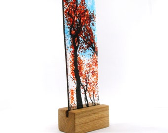 Fused Glass Red Autumn Tree in wood stand 21cm x 8cm