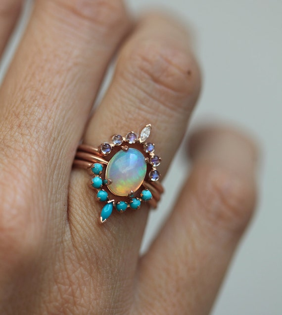Elegant Ocean Engagement Ring Set Solitaire Fire Opal Moonstone