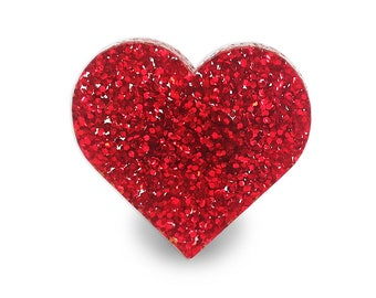 Red Heart Glitter Ring - Adjustable Big Glitter Basics Love Valentine Cute Girly Sparkle Perspex Acrylic Silver Tone Brass