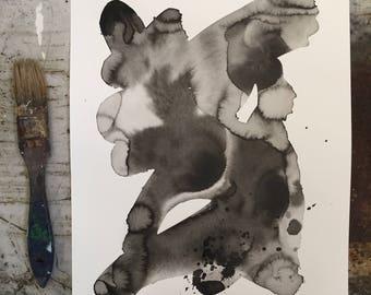 Minimalist Original Expressionist Art Painting Fine art black and white abstract by Julie Steiner