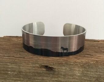 Horse jewelryWild Horse Aluminum Cuff Bracelet.Sand Wash Basin Wild Horses.CO.