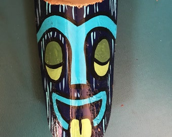 Small Blue Smiling Palm Fromd Tiki God