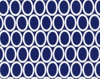 Navy Blue Oval Circle  Cotton Fabric -Remix -  Robert Kaufman Fabrics