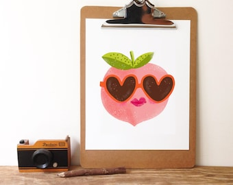 Peach In Sunnies -Art Print 5x7, 8x10, 11x14