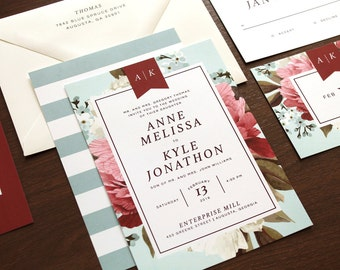 Floral Wedding Invitation | Botanical Wedding Invitations, Vintage Wedding Invitation, Botanical Invite, Floral Invitation, Printable