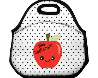 Teacher Lunch Bag Personalized Cute Apple Custom Teacher Lunch Tote / Lunch Sack / Personalized Polka Dots Neoprene Zippered Lunch Bag