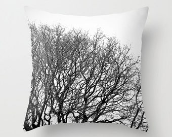 """Tree pillow, tree cushion, black and white, minimalist, throw pillow, scatter cushion, winter, photography, unique, 14"""", 16"""", 18"""", 20"""""""