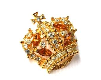 Vintage Bellini Crystal Crown Pin