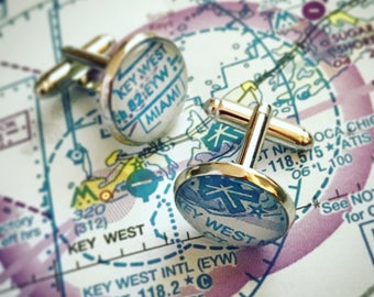 Custom Aviation Chart Cufflinks
