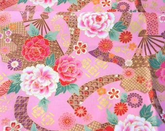Kimono print Japanese fabric Roses and folding fan print with pink background 19.6  by 42 inches nc45