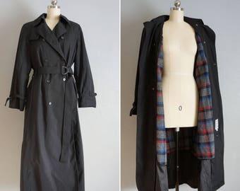 1990s Foggy Stroll black trench | vintage London Fog trench coat | black trench coat small