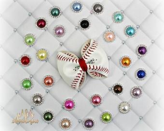 Baseball Bow, Real Baseball Bow, Leather Baseball Bow, Baseball Hair Bow, Baseball Leather Bow, Pick Your Color Pearl Baseball Bow