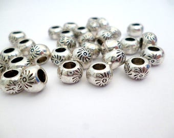 Solid Silver Tone Metal Beads_ PA67461052554209RY_Silver Metal Bead of 8x5 mm_ hole 3 mm_ pack 30 pcs