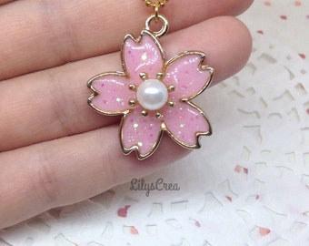 Pendant necklace - cherry blossom - UV resin