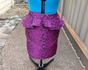 Pink leopard print peplum high wasted pencil skirt 29inch waist