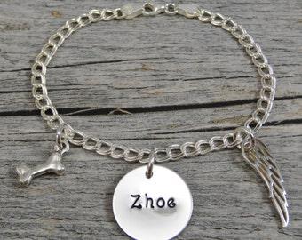 Dog Remembrance Bracelet - Hand Stamped Jewelry - Personalized Jewelry - Sterling Silver Bracelet - Dog Bone Charm - Angel Wing Charm