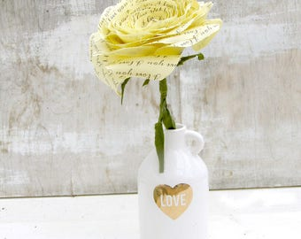 2 year anniversary Long Stem Yellow Rose Sweet engagement Anniversary Wedding Gift by Cotton Bird Designs