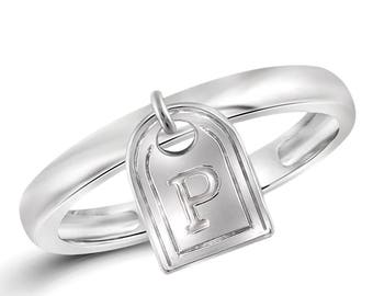 P Initial Charm Ring in Sterling Silver