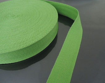"Green Cotton Twill Tape 1"" or 1/2""- Green Kiwi Herringbone Cotton Twill Tape CT95 ( 25mm 1 inch ) or ( 13mm 1/2 inch )"