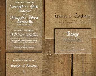 White Calligraphy Kraft Effect Rustic Wedding Invitation Set - wedding invites, Wedding invitations UK Wedding invitations Australia