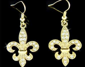 Swarovski Crystal Fleur De Lis Lys Flower Floral French Paris Iris Quebec Gold Tone Earrings Jewelry Best Friend Christmas Birthday Gift New