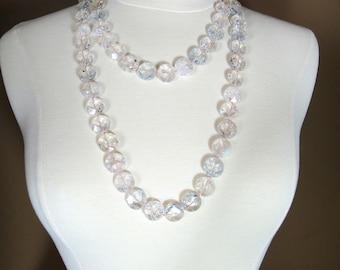 Extra Long Pink Quartz Disk Bead Necklace