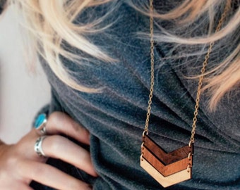 Chevron Necklace 5 Year Anniversary Gift for Women Three Chevrons Salvaged Wood Jewelry OMBRE CHEVRON NECKLACE