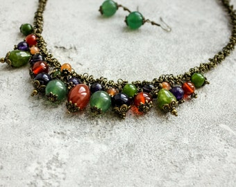 Natural Necklace - Nature inspired jewelry - Green choker - Forest necklace