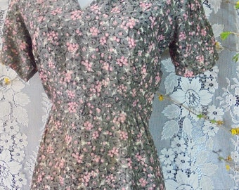 50s  floral dress gray pink rayon   vintage summer frock  small  from vintage opulence on Etsy
