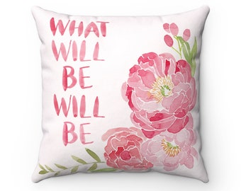What Will Be Watercolor Florals Pillow Pink